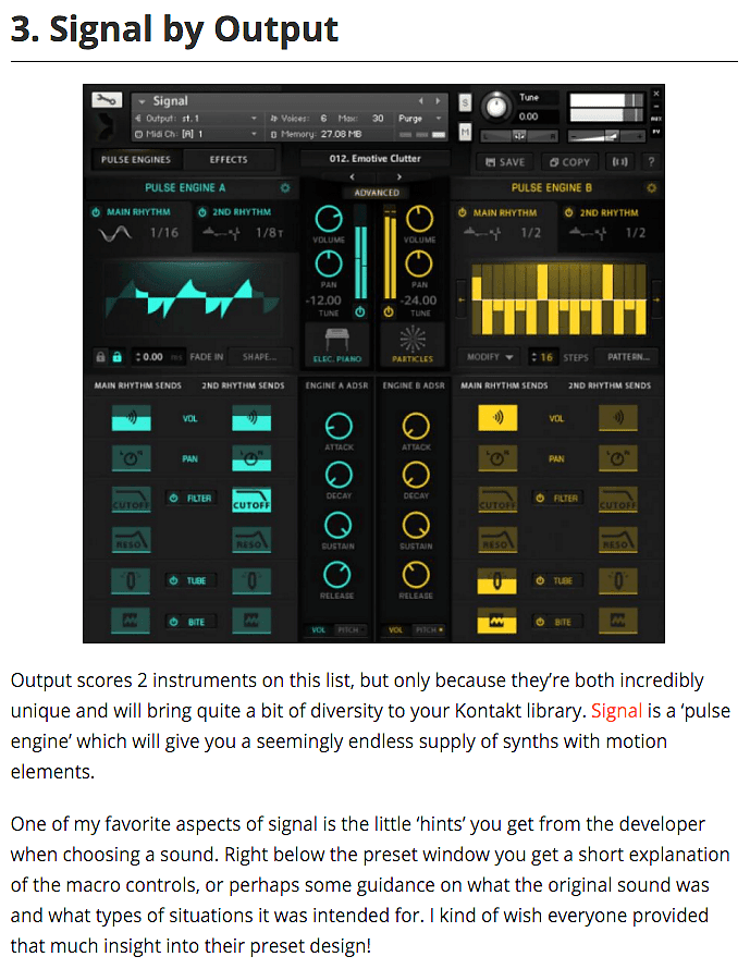 Signal By Output Top 5 Kontakt Instrument by Ask Audio