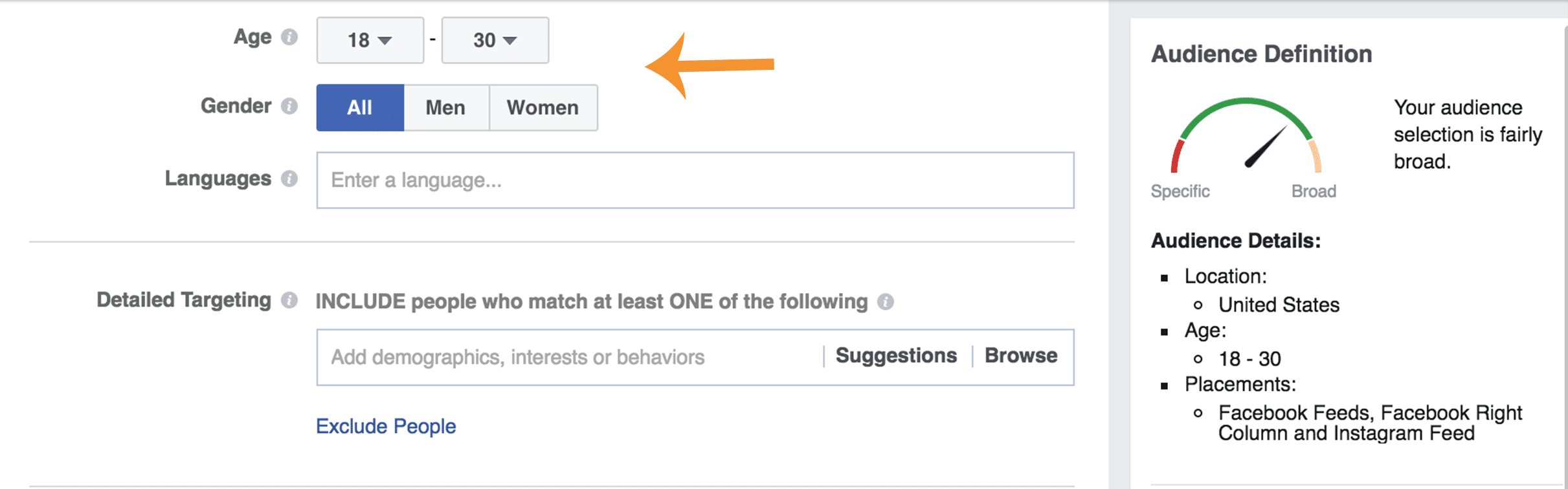 Choosing the age and gender for a Facebook ad