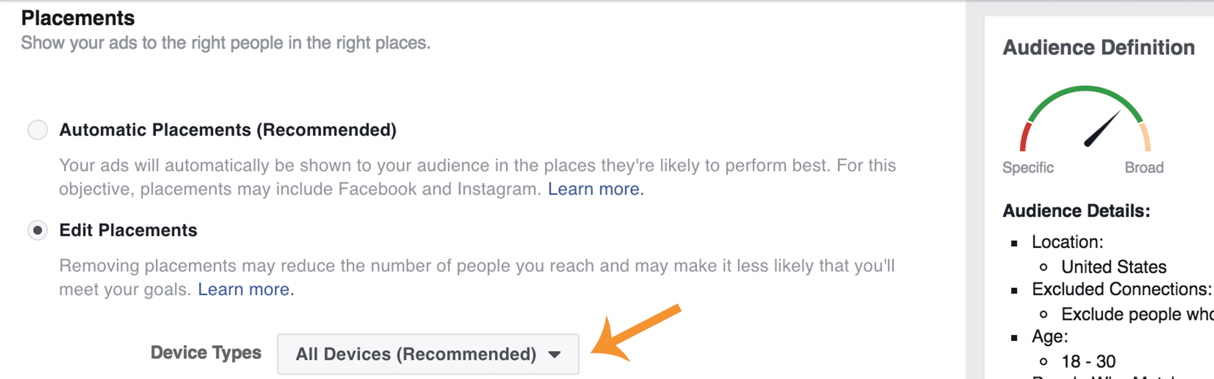 Choosing the devices where your Facebook ad will appear