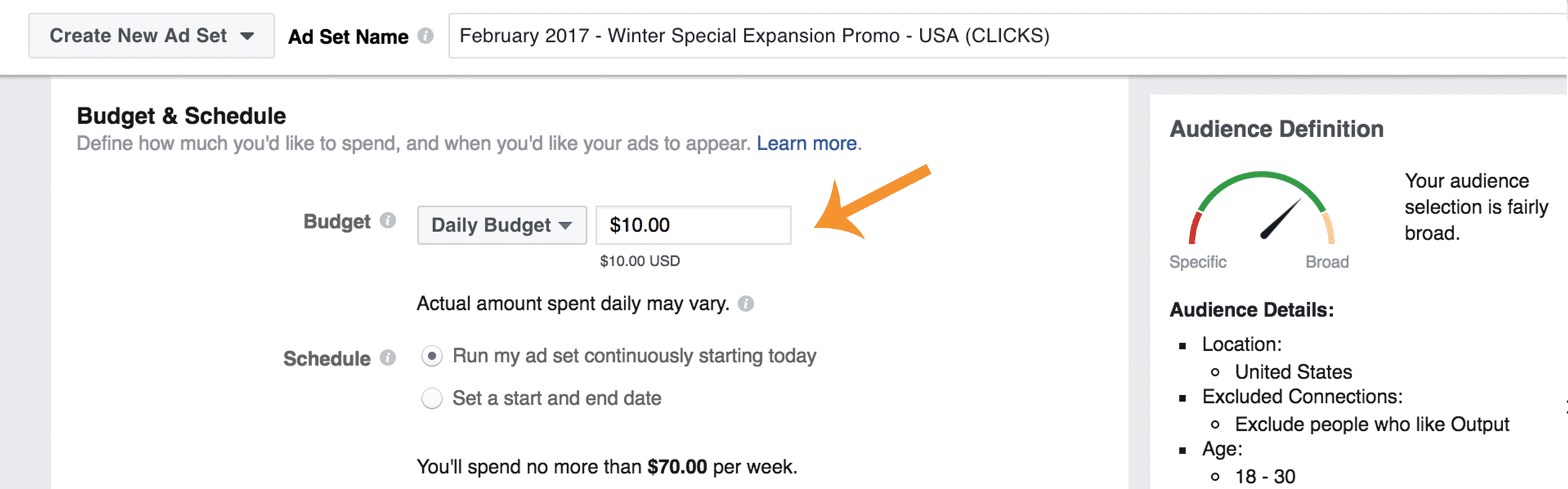 Picking a budget on Facebook Ads