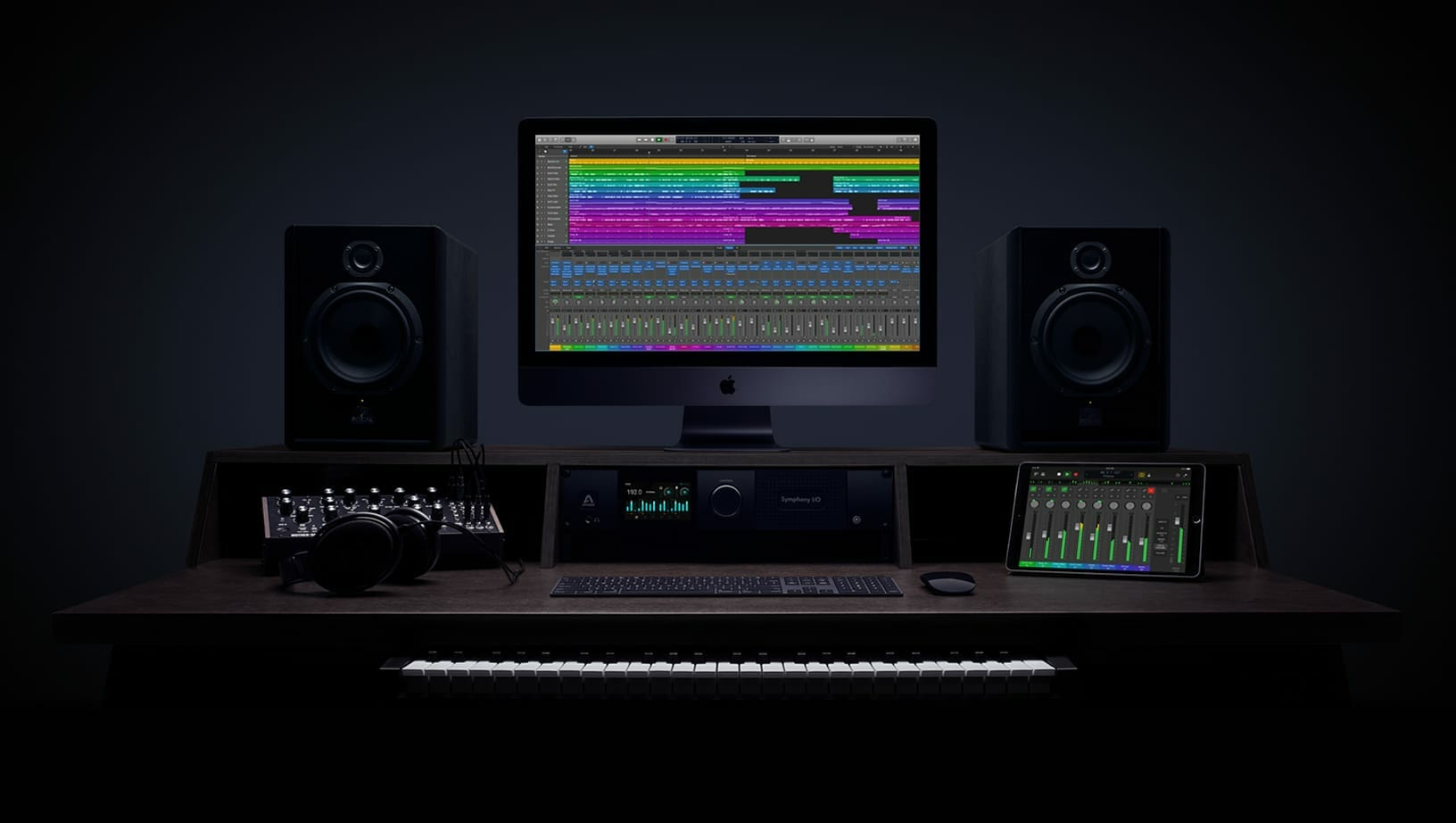 Output music studio desk featured by Apple for Logic Pro X