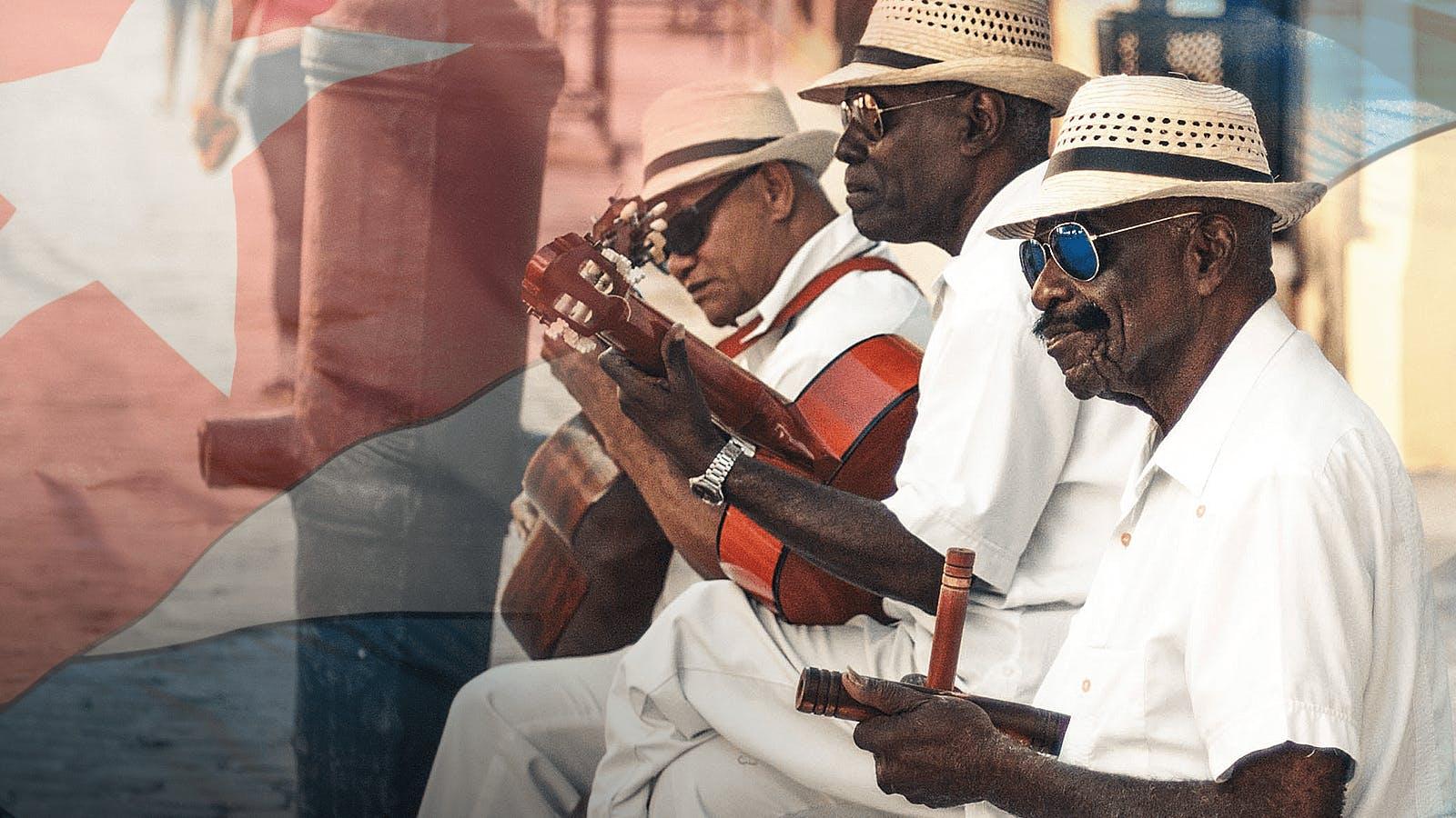 Street musician in Cuba sitting outside
