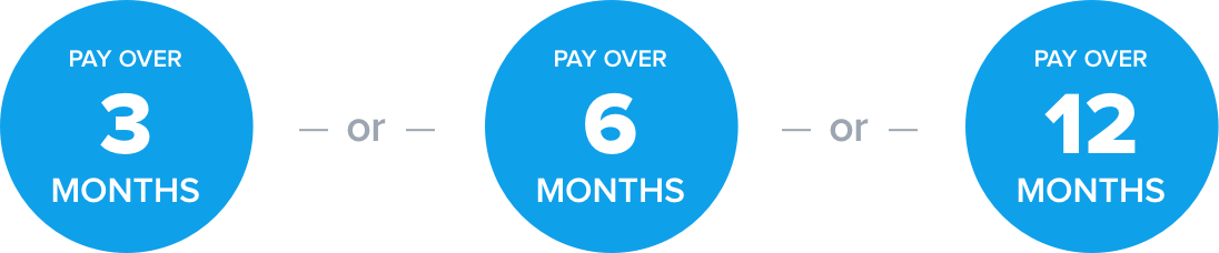pay over 3, 6, or 12 months