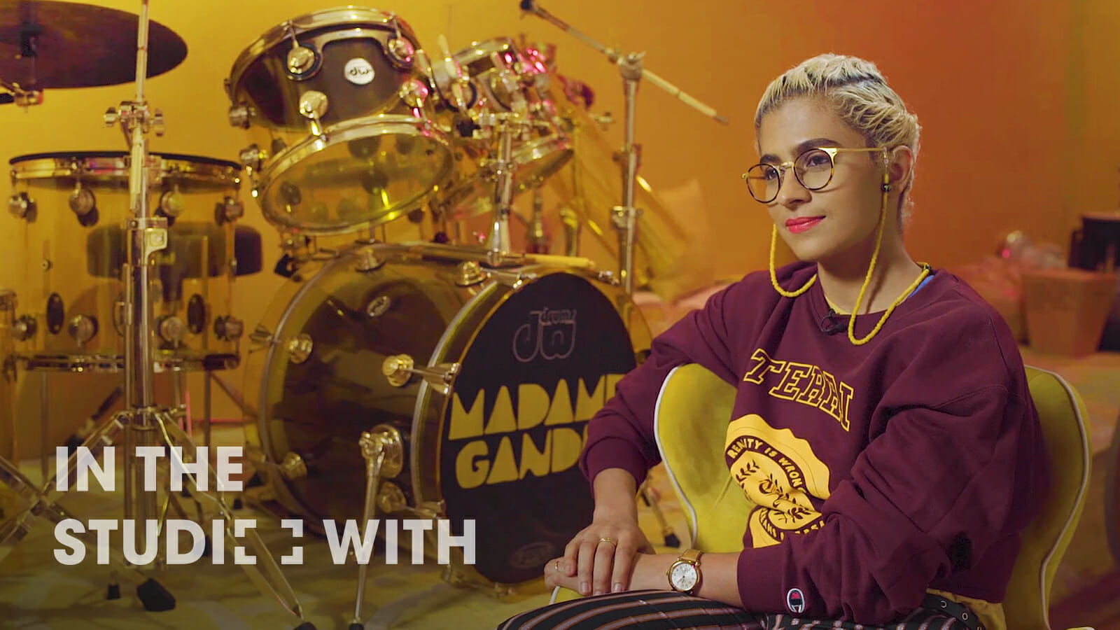 Percussionist Madame Ghandi in the studio with her drum kit