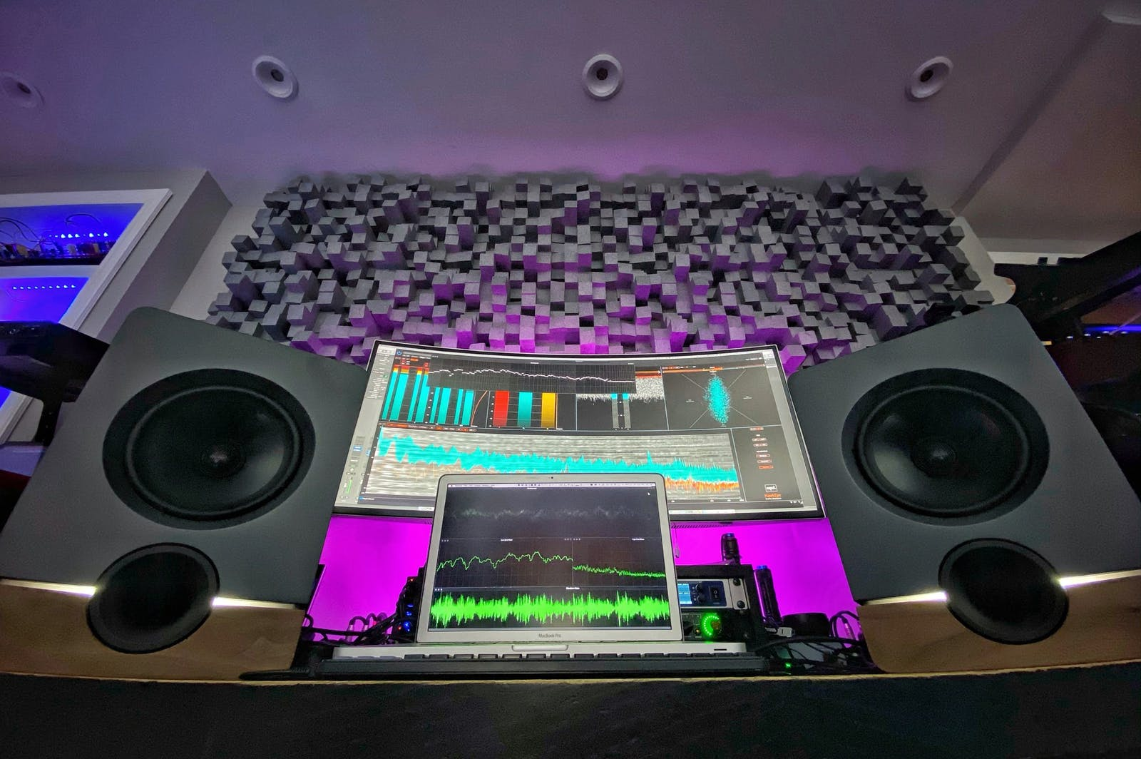 Richard Devine's home studio with Frontier studio monitors by Output and Barefoot audio
