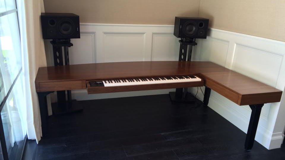 Custom standing music studio desk