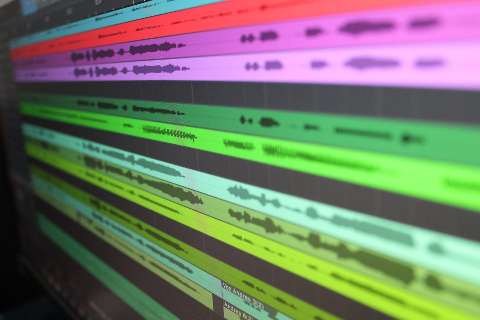Photo of music production session on a computer screen.