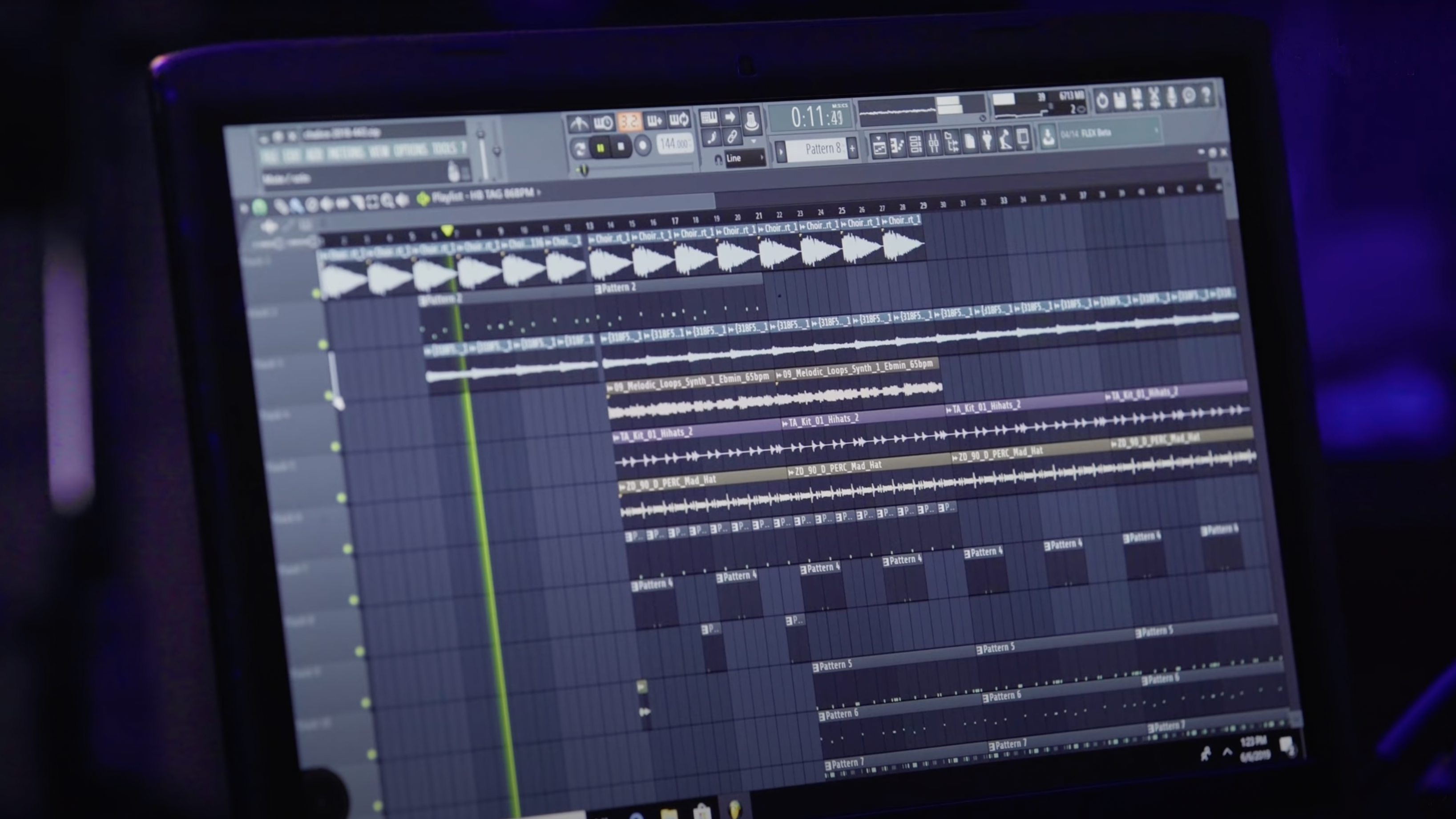 Computer screen from a Grammy-winning hip-hop producer working on a song